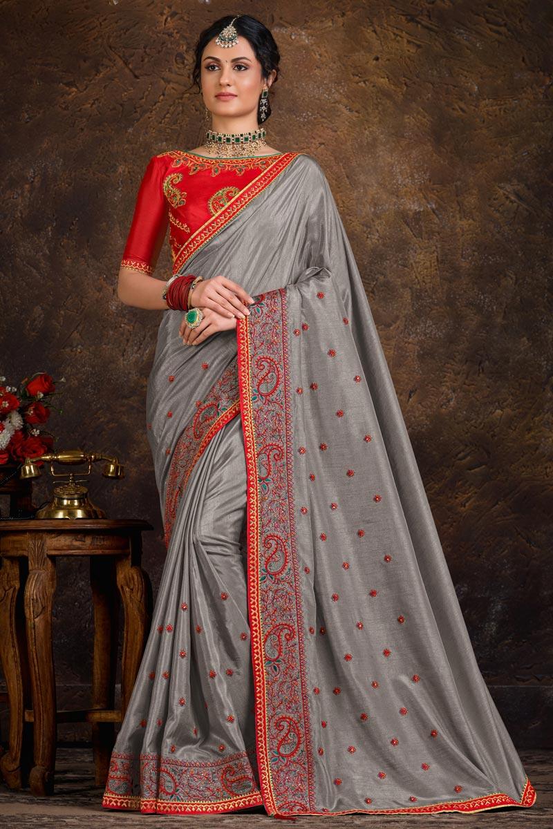 Grey Color Art Silk Fabric Puja Wear Lace Work Designer Saree