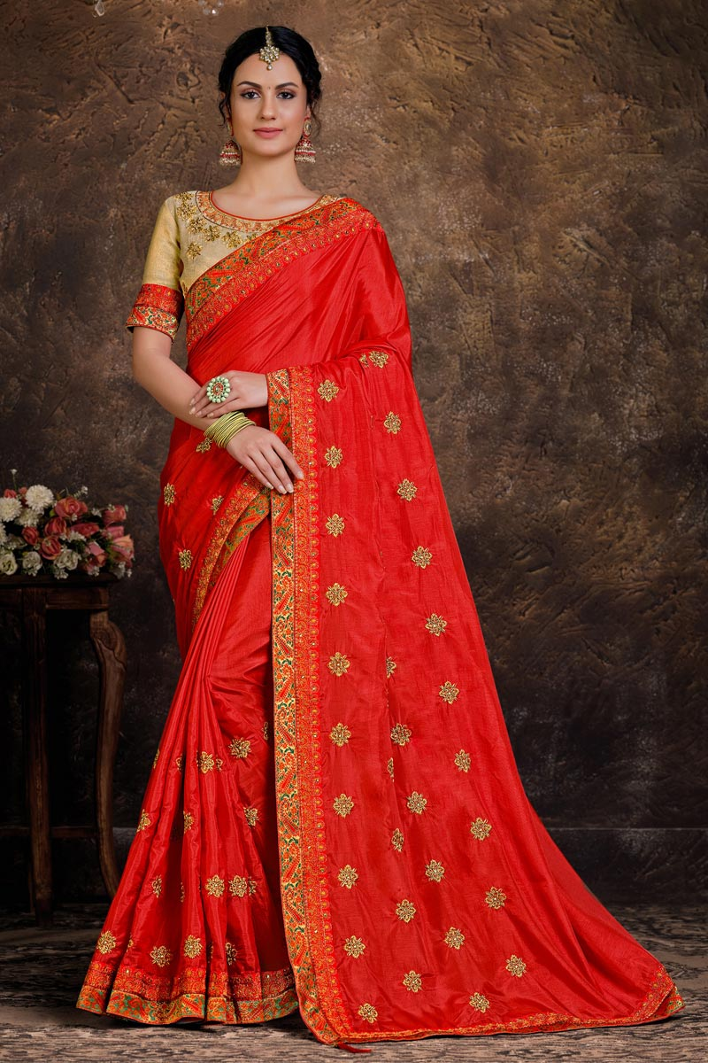 Red Color Art Silk Fabric Lace Work Fancy Function Wear Saree