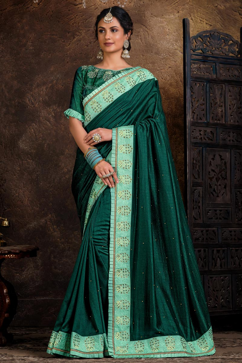 Teal Color Party Wear Lace Work Saree In Art Silk Fabric
