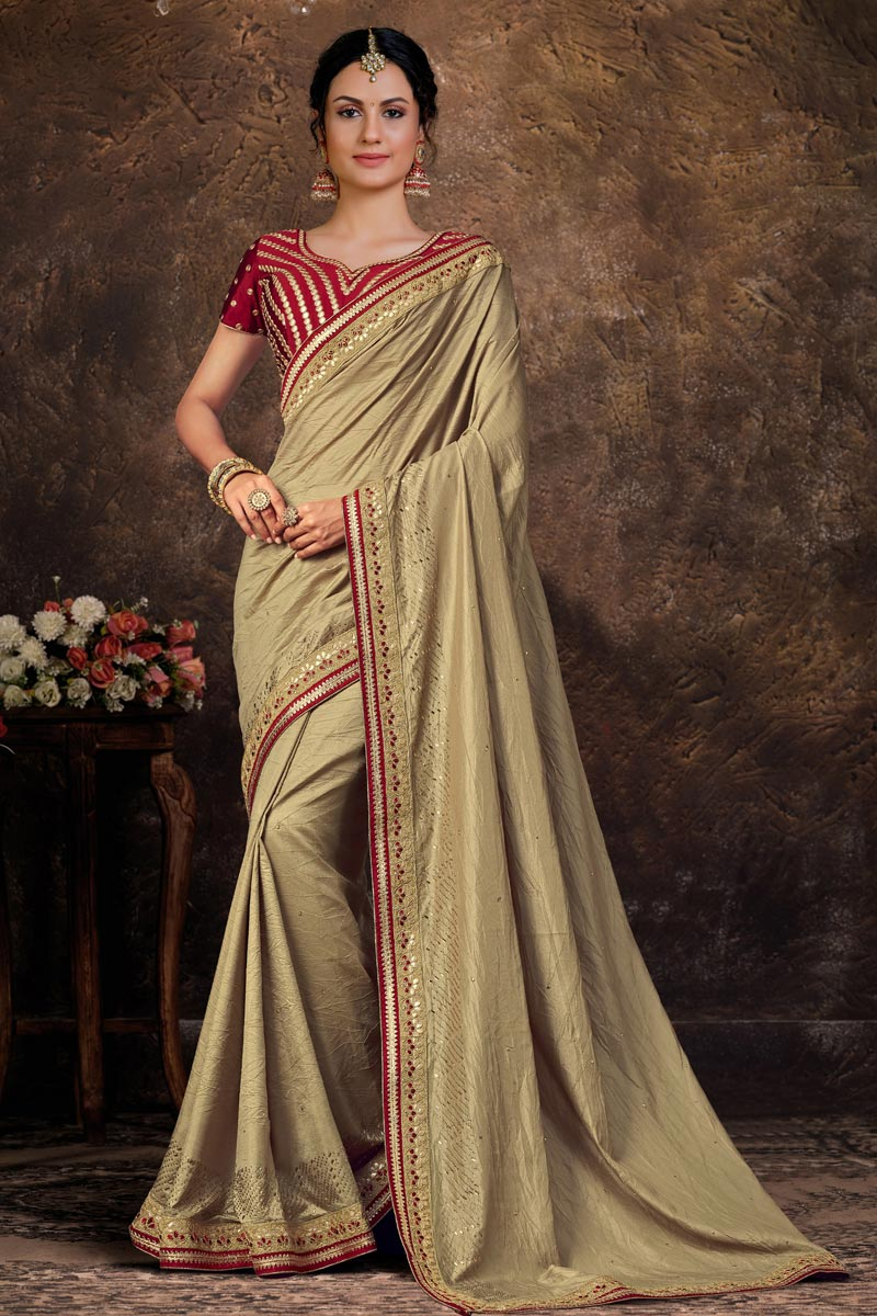 Art Silk Fabric Party Wear Lace Work Saree In Cream Color