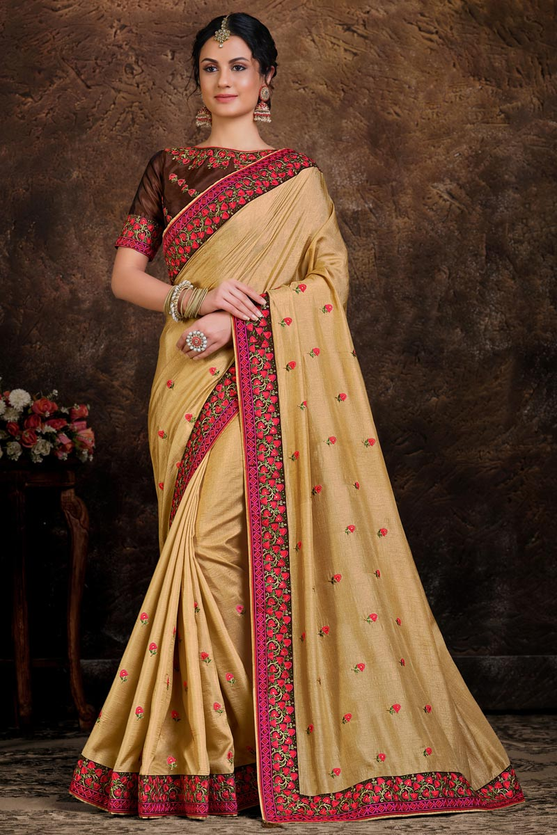 Party Wear Art Silk Fabric Lace Work Saree In Beige Color