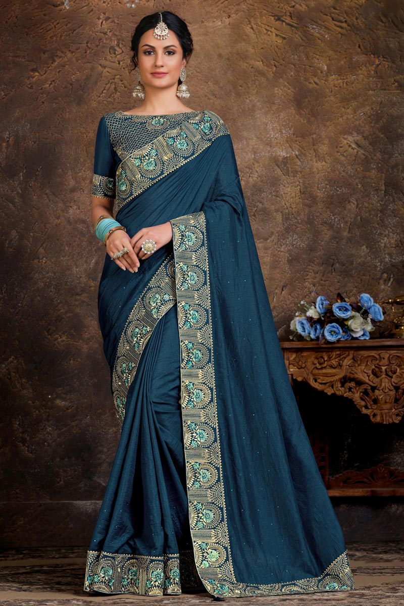 Art Silk Fabric Party Wear Navy Blue Color Lace Work Saree