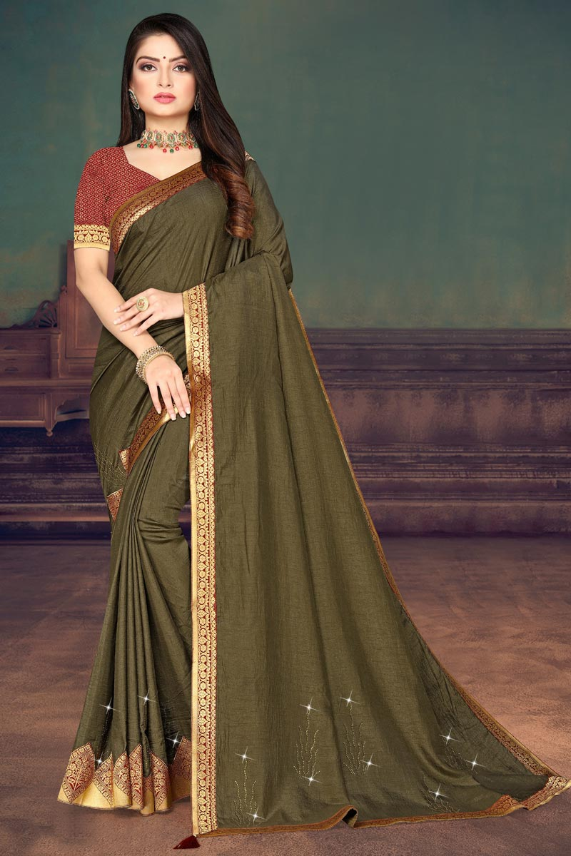 Art Silk Fabric Fancy Regular Wear Mehendi Green Color Lace Work Saree