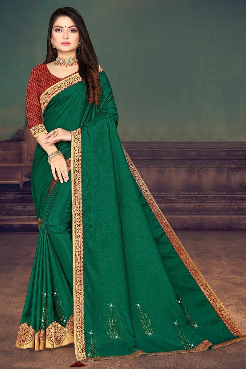 Green Color Regular Wear Art Silk Fabric Fancy Lace Work Saree