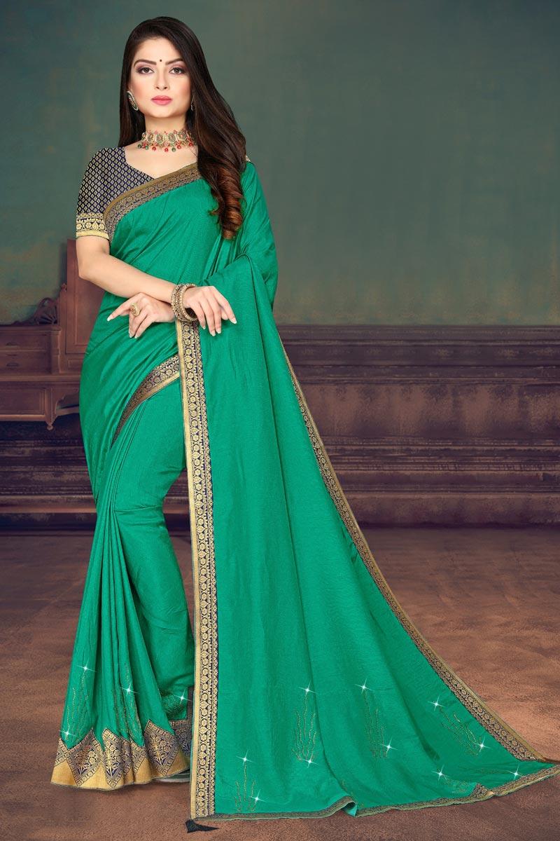 Regular Wear Cyan Color Fancy Art Silk Fabric Lace Work Saree