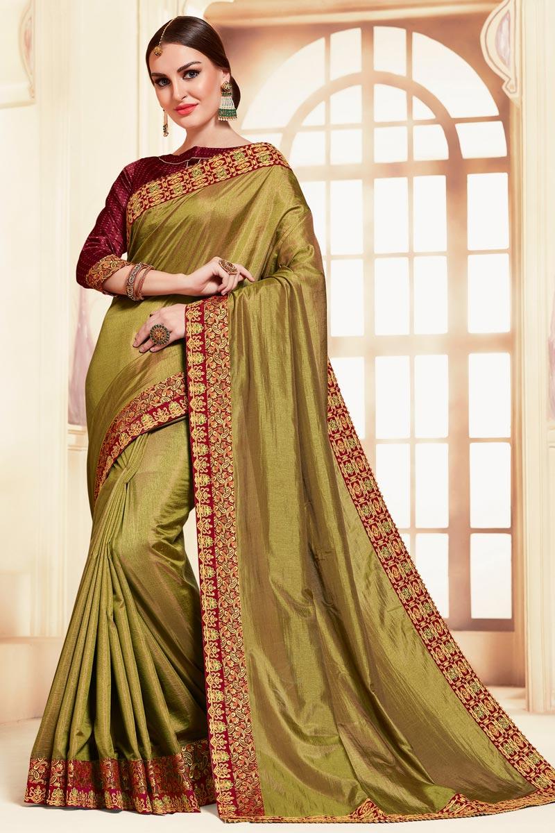 Festive Wear Mehendi Green Color Classic Art Silk Fabric Embroidered Saree