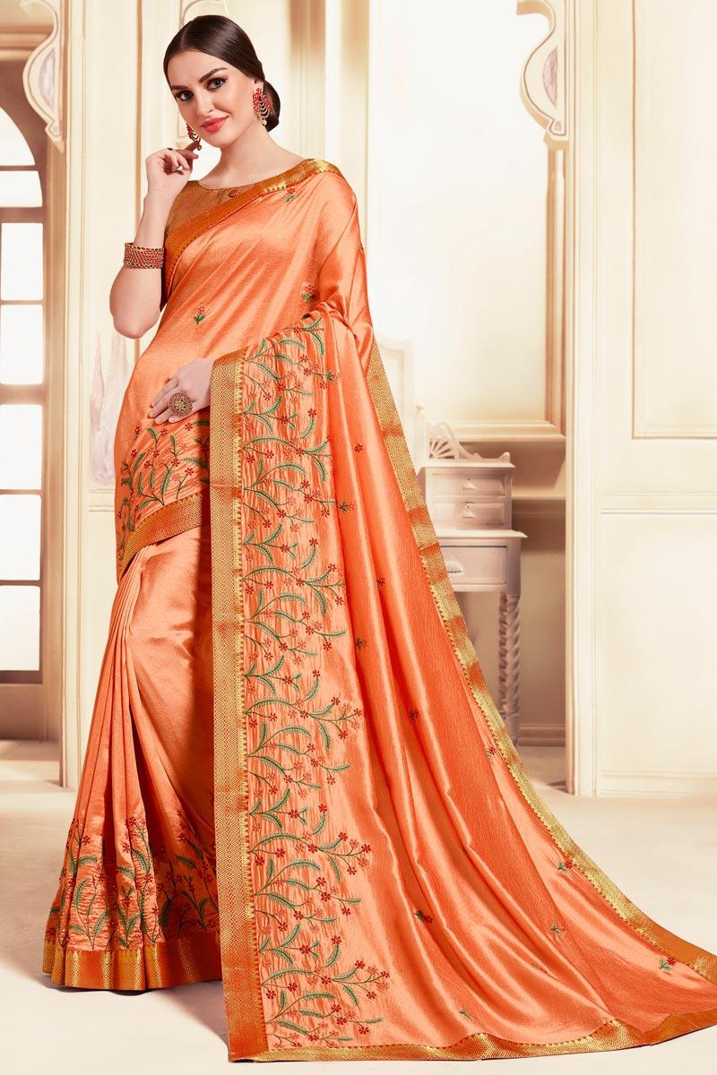 Peach Color Festive Wear Art Silk Fabric Classic Embroidered Saree