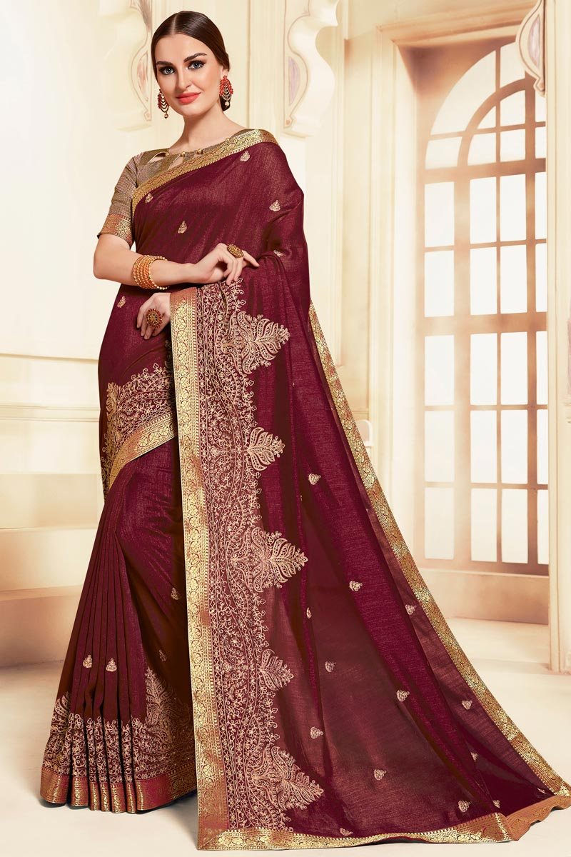 Festive Wear Burgundy Color Classic Embroidered Saree In Art Silk Fabric