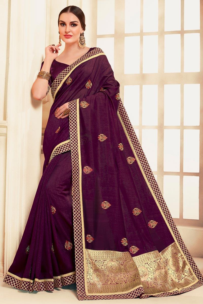Festive Wear Classic Purple Color Embroidered Art Silk Fabric Saree