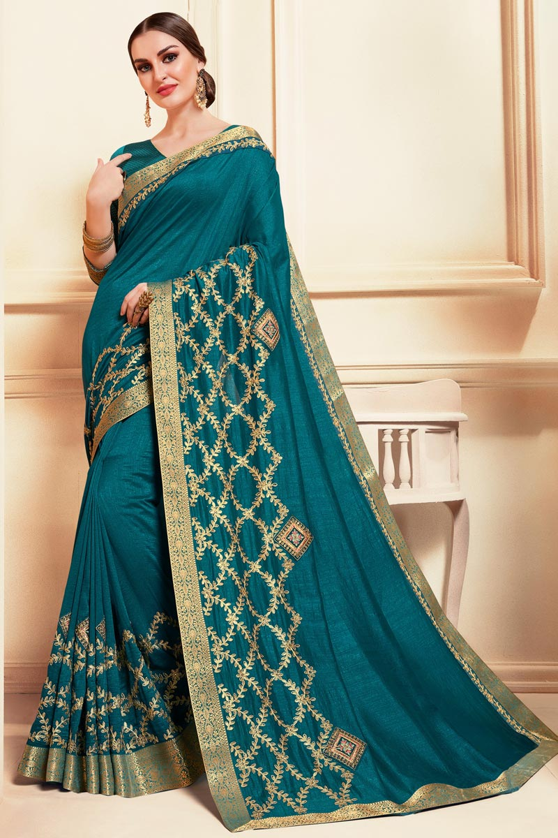 Festive Wear Classic Art Silk Fabric Embroidered Saree In Teal Color