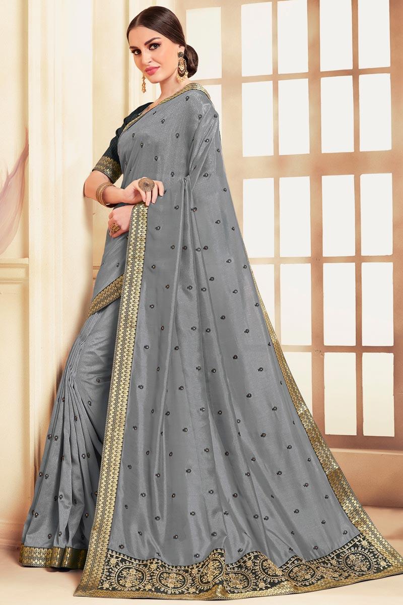 Art Silk Fabric Festive Wear Grey Color Classic Embroidered Saree