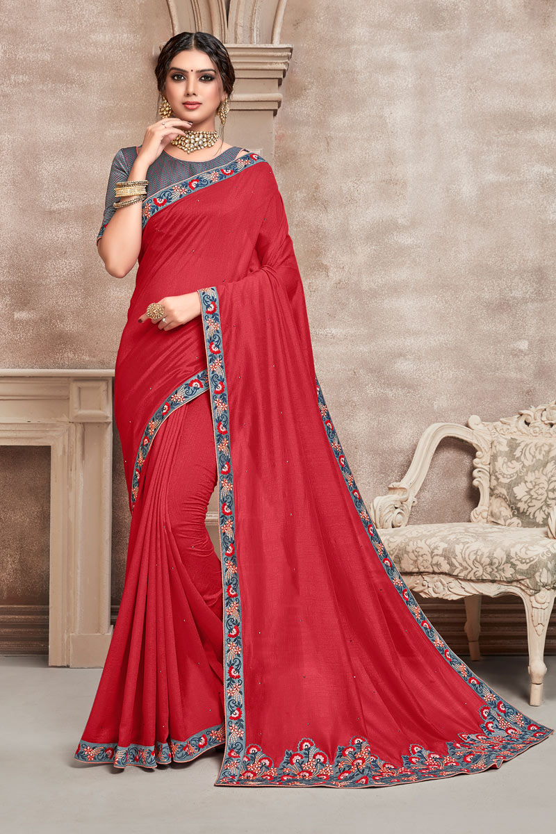 Designer Saree In Art Silk Fabric Red Color With Embroidery Work
