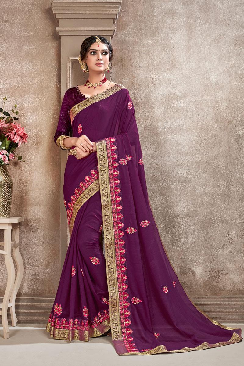 Purple Fancy Art Silk Fabric Festive Wear Saree With Embroidery Work