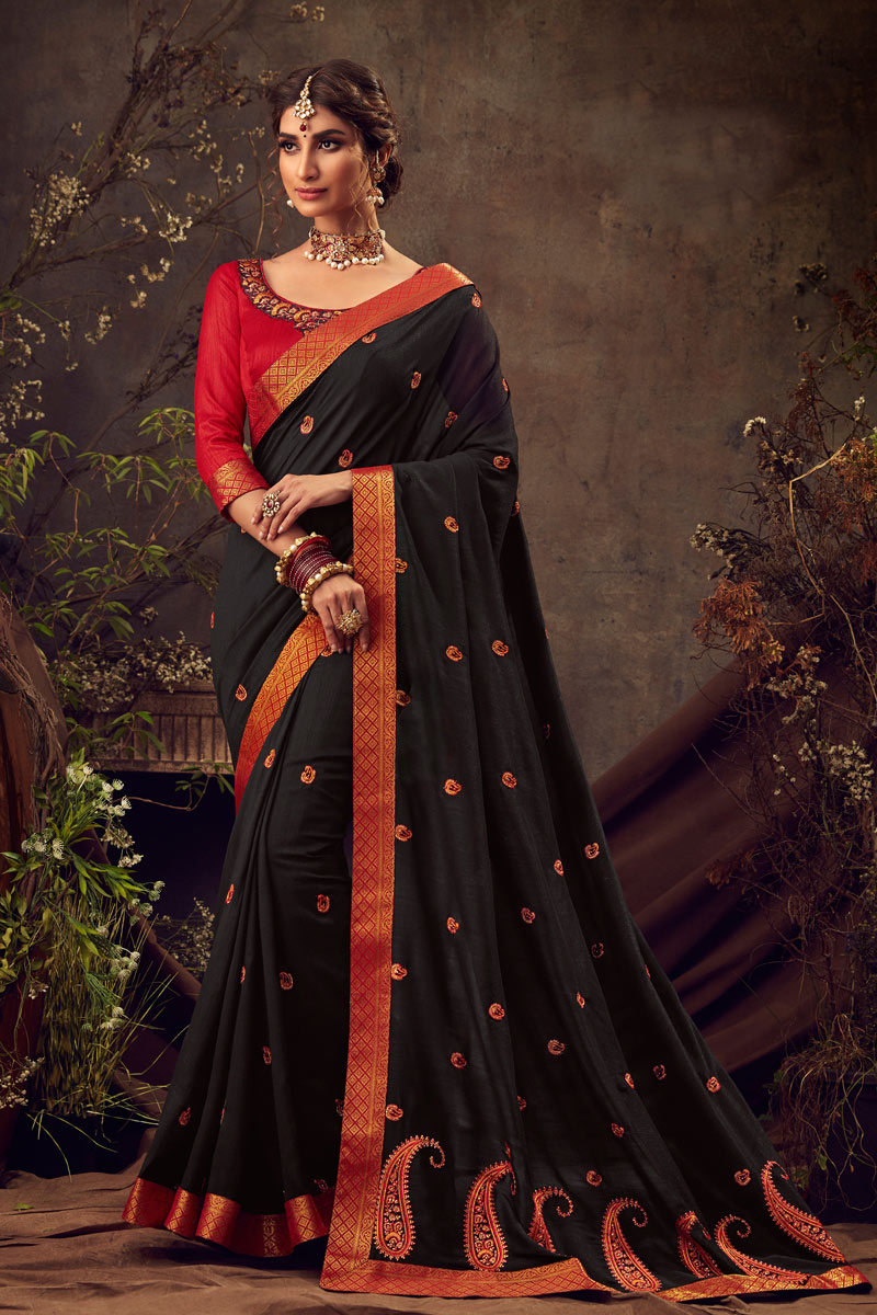 Art Silk Fabric Black Color Occasion Wear Saree With Embroidery Work And Elegant Blouse