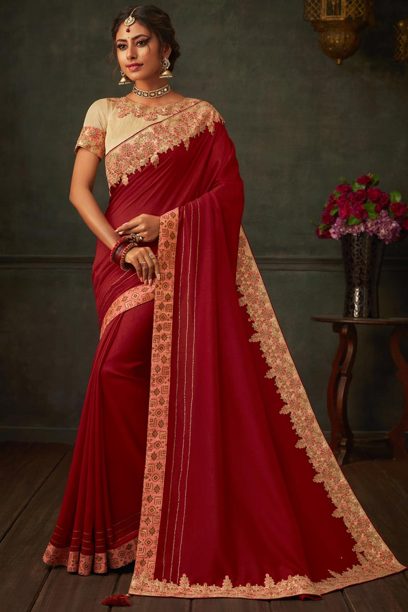 Maroon Color Art Silk Fabric Festive Wear Saree With Border Work And Attractive Blouse