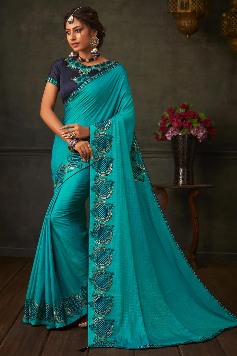 Occasion Wear Sky Blue Color Border Work Saree In Art Silk Fabric With Designer Blouse