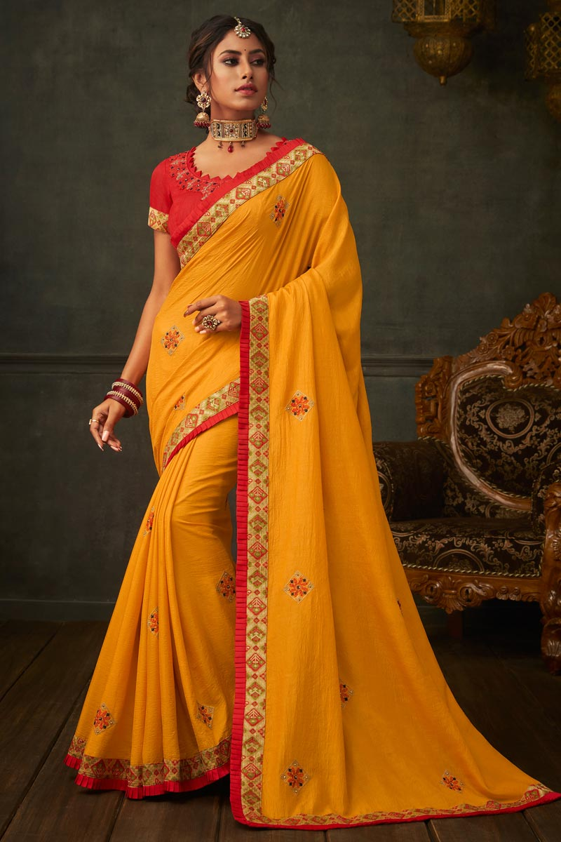 Border Work On Mustard Color Art Silk Fabric Function Wear Saree With Marvelous Blouse