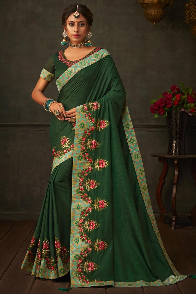 Art Silk Fabric Dark Green Color Wedding Wear Saree With Border Work And Gorgeous Blouse