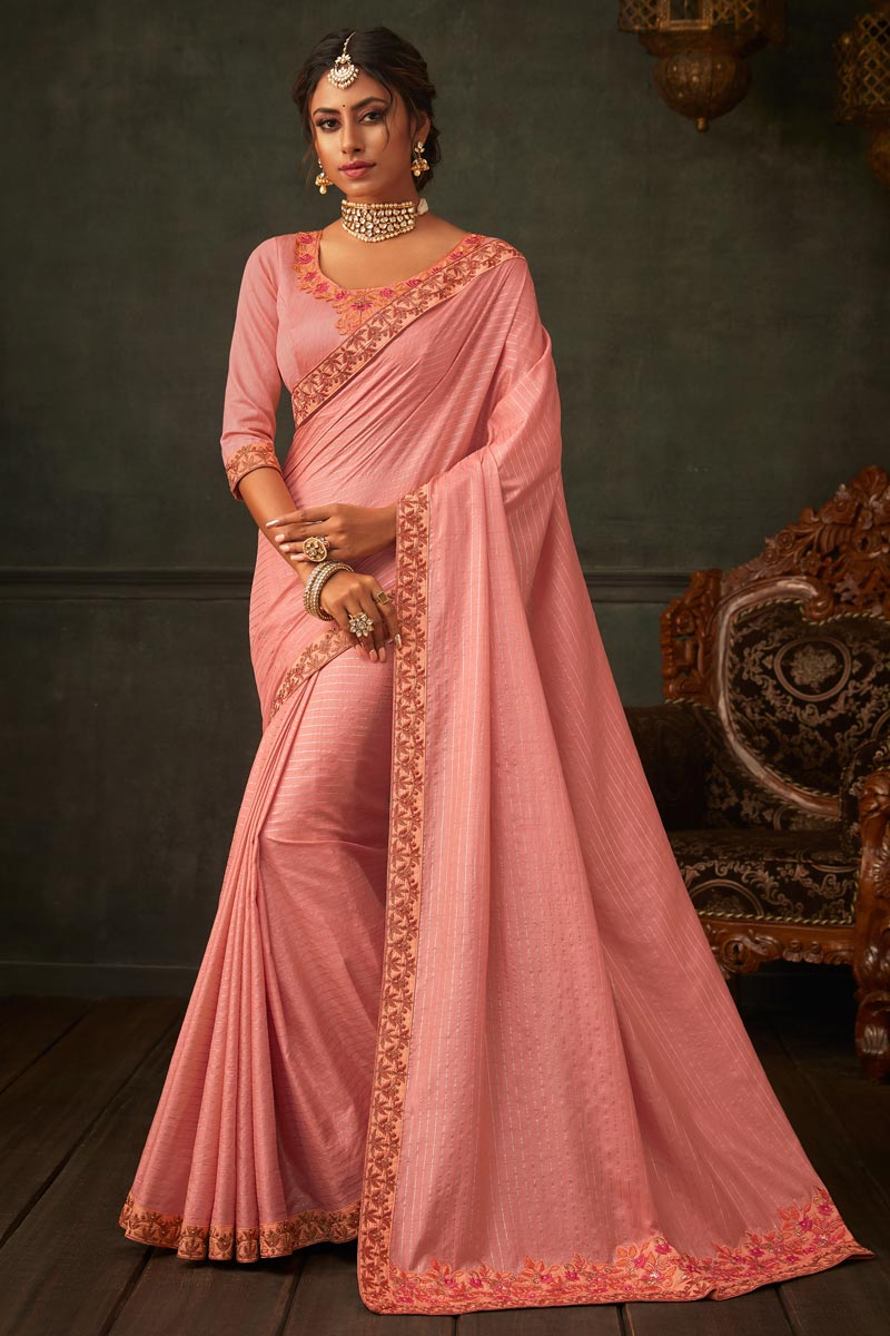 Pink Color Border Work Designs On Art Silk Fabric Reception Wear Saree With Attractive Blouse