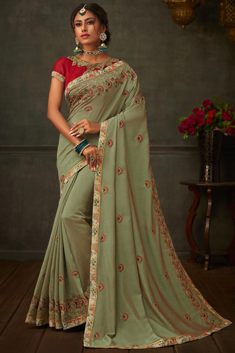 Olive Color Art Silk Fabric Border Work Designer Saree With Fancy Blouse