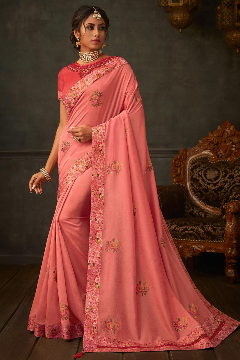 Border Work On Art Silk Fabric Pink Color Party Wear Saree With Amazing Blouse