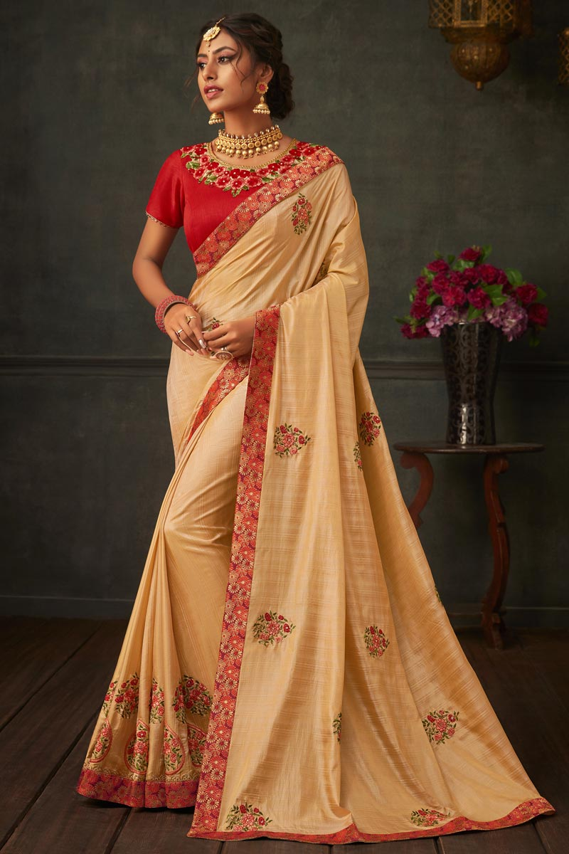 Art Silk Fabric Designer Party Wear Saree In Chikoo Color With Border Work