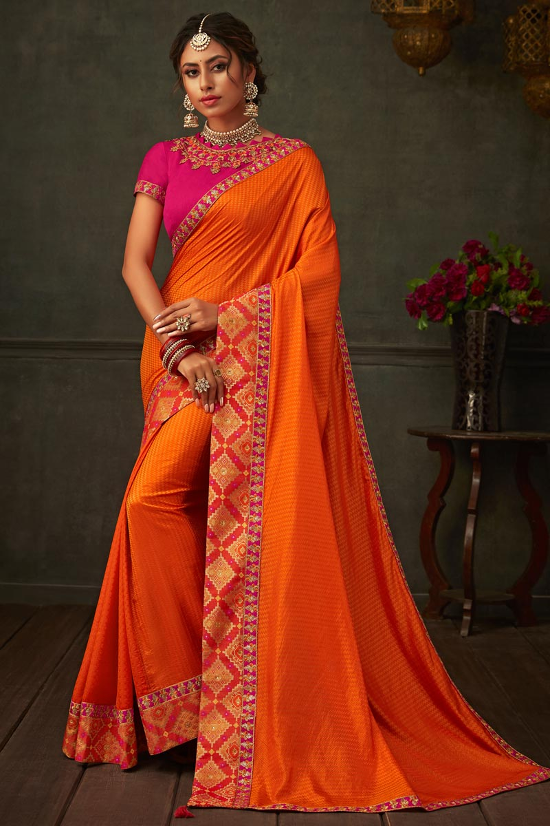 Border Work On Orange Color Art Silk Fabric Saree For Mehendi Ceremony
