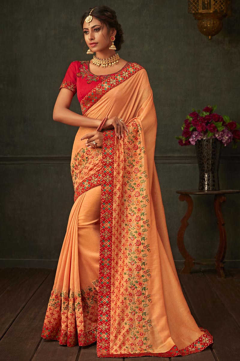 Art Silk Fabric Peach Color Wedding Wear Saree With Border Work And Gorgeous Blouse