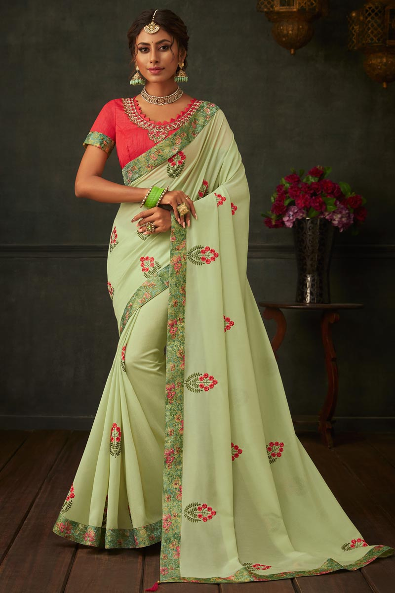 Border Work On Reception Wear Saree In Sea Green Color Art Silk Fabric With Charming Blouse