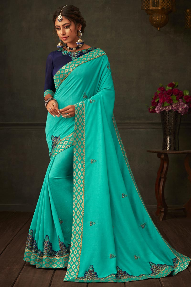 Cyan Color Art Silk Fabric Festive Wear Saree With Border Work And Attractive Blouse