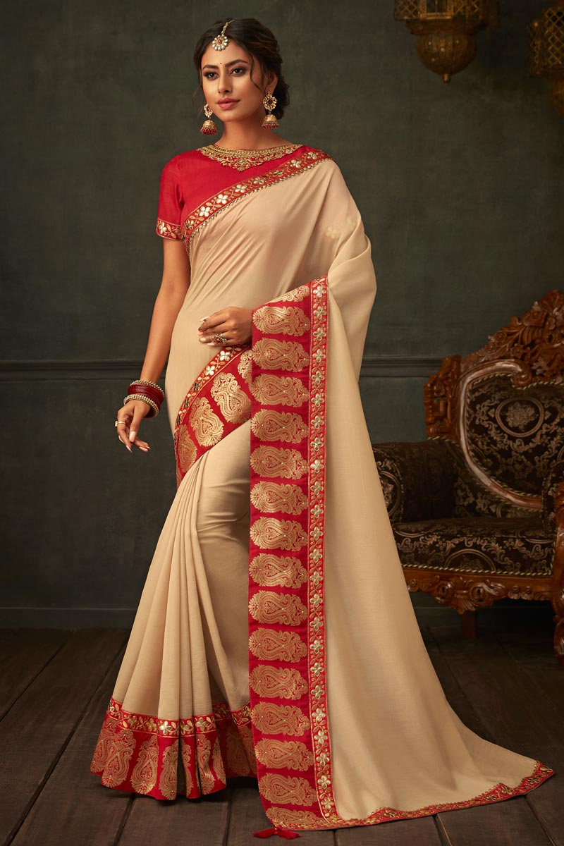 Occasion Wear Beige Color Border Work Saree In Art Silk Fabric With Designer Blouse