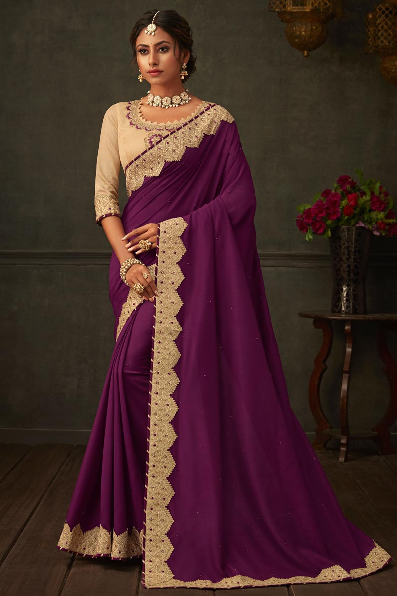 Border Work On Purple Color Art Silk Fabric Function Wear Saree With Marvelous Blouse