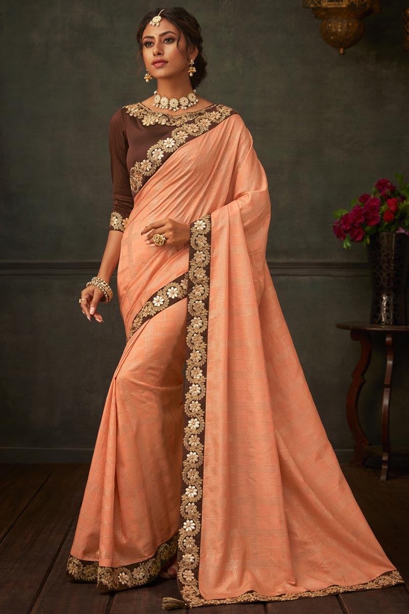 Border Work On Peach Color Art Silk Fabric Saree For Mehendi Ceremony
