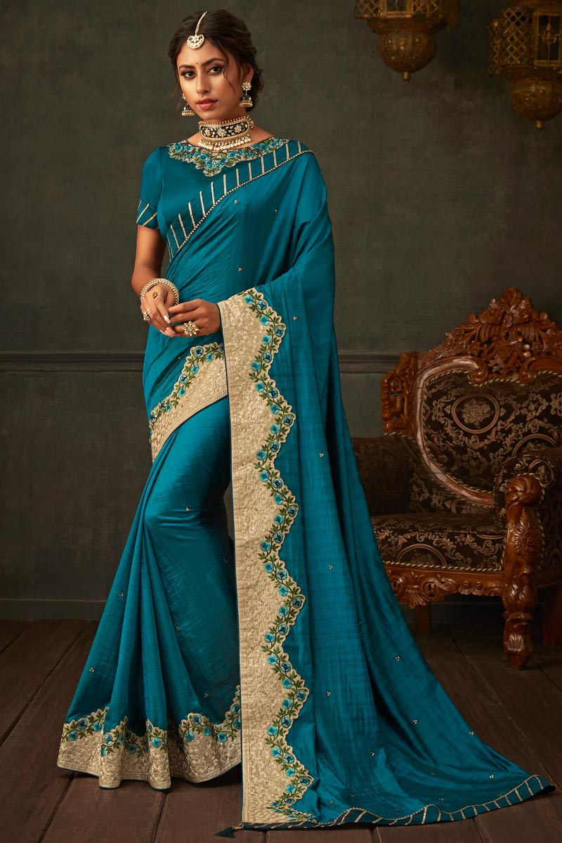 Sky Blue Color Border Work Designs On Art Silk Fabric Reception Wear Saree With Attractive Blouse
