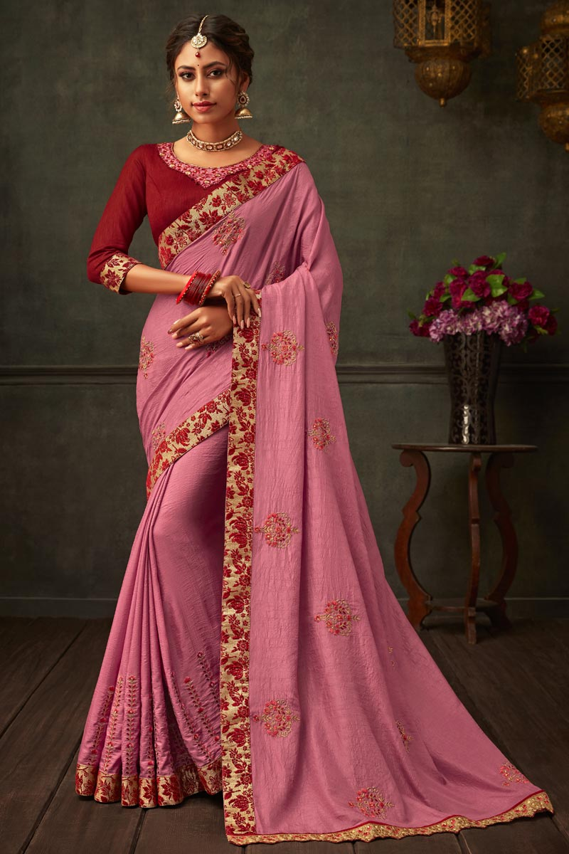 Art Silk Fabric Pink Color Designer Saree With Border Work And Party Wear Blouse