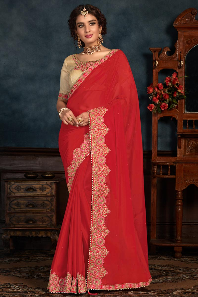 Art Silk Fabric Sangeet Wear Red Color Embroidery Work Saree
