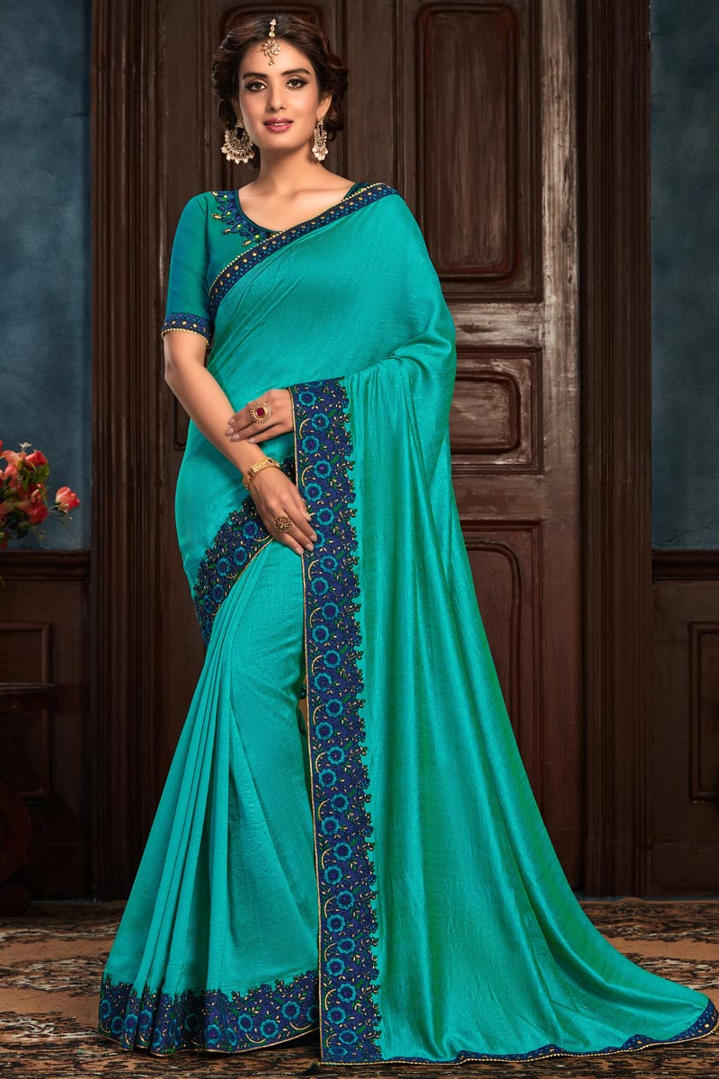 Cyan Color Sangeet Wear Art Silk Fabric Embroidery Work Saree
