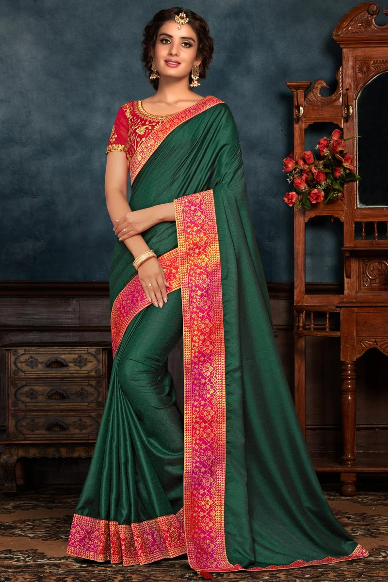 Sangeet Wear Art Silk Fabric Embroidery Work Saree In Dark Green Color