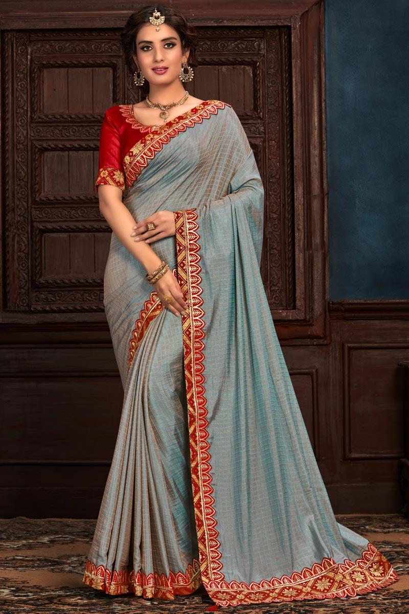 Designer Grey Color Art Silk Fabric Party Wear Saree