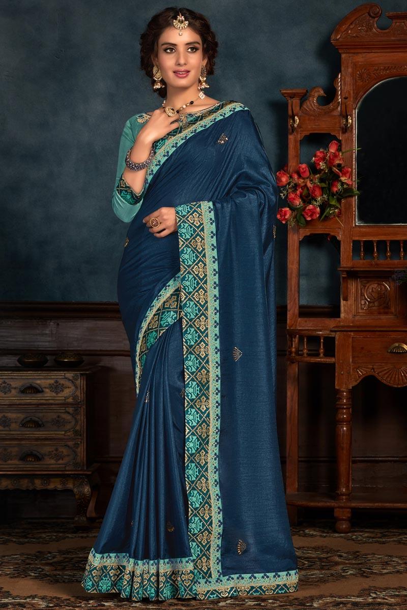Navy Blue Color Art Silk Fabric Festive Wear Saree