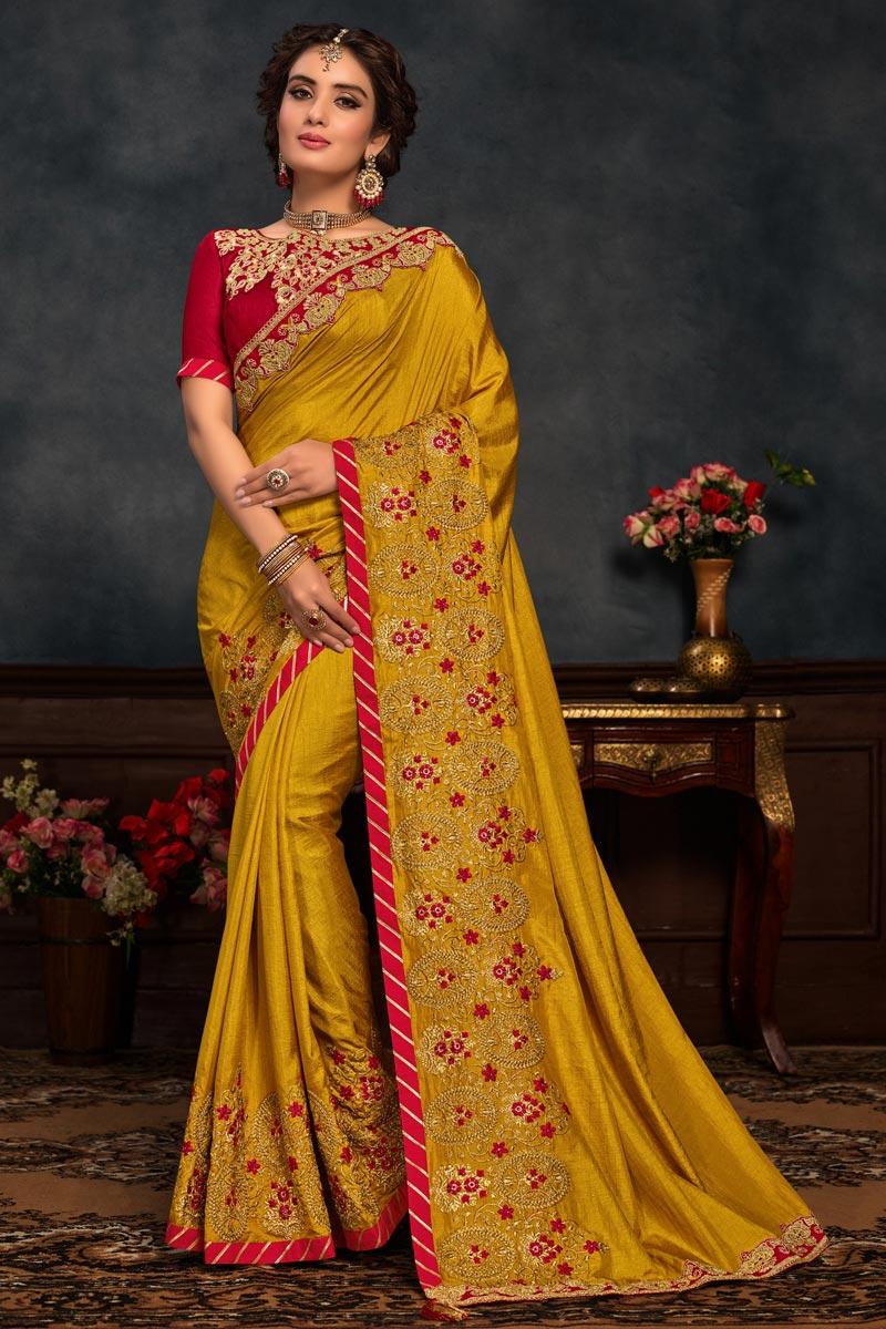 Mustard Color Traditional Saree In Art Silk Fabric