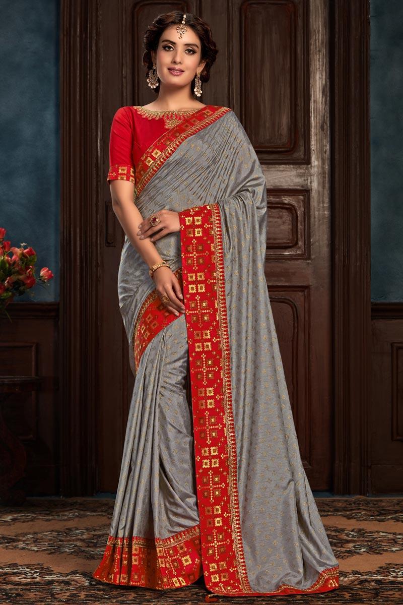 Grey Color Art Silk Fabric Festive Wear Fancy Saree