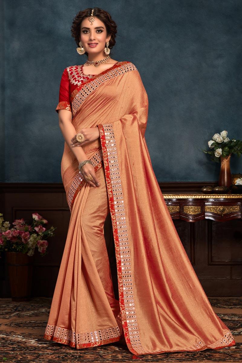 Function Wear Salmon Color Saree In Art Silk Fabric