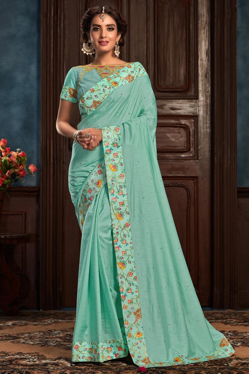Designer Light Cyan Color Art Silk Fabric Party Wear Saree