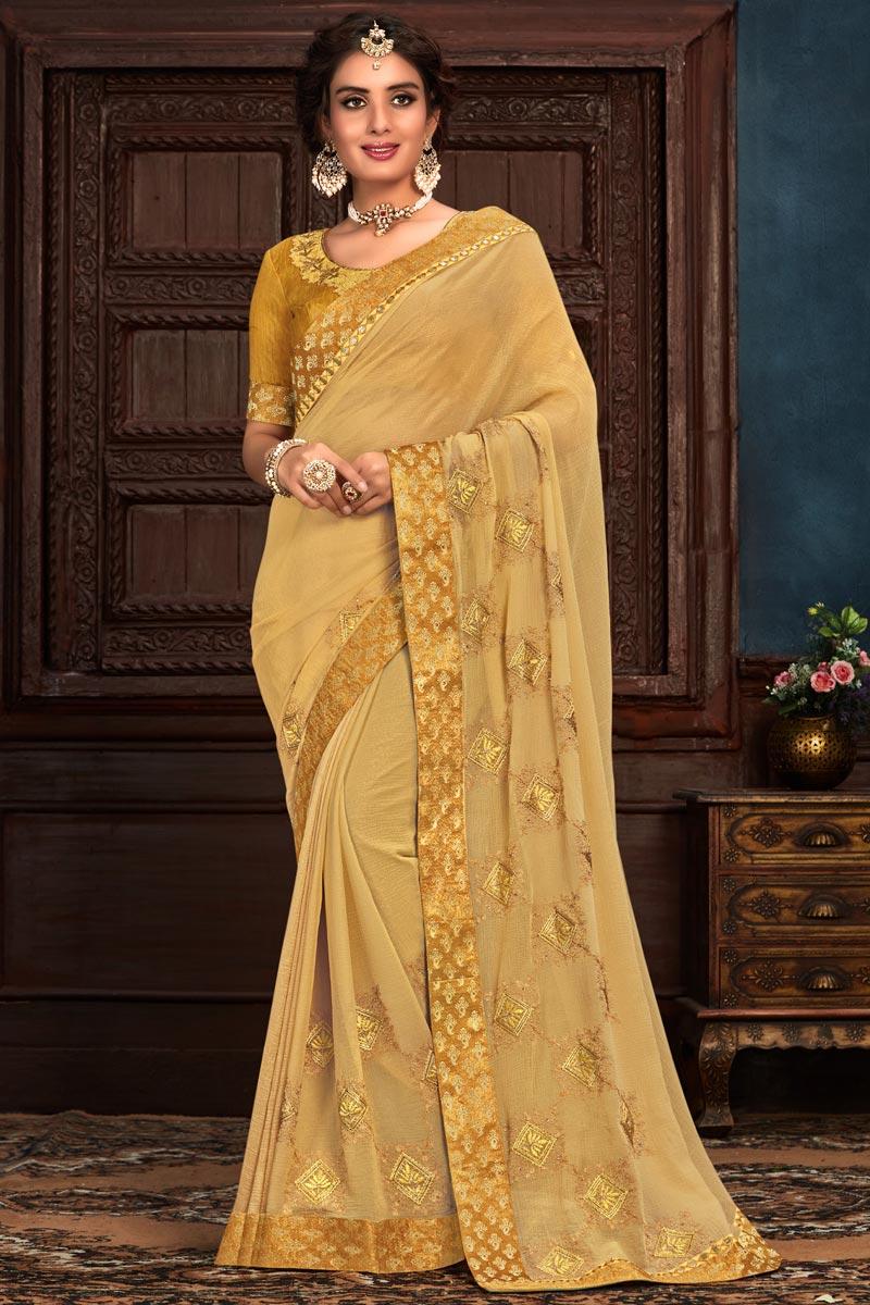 Beige Color Art Silk Fabric Occasion Wear Saree