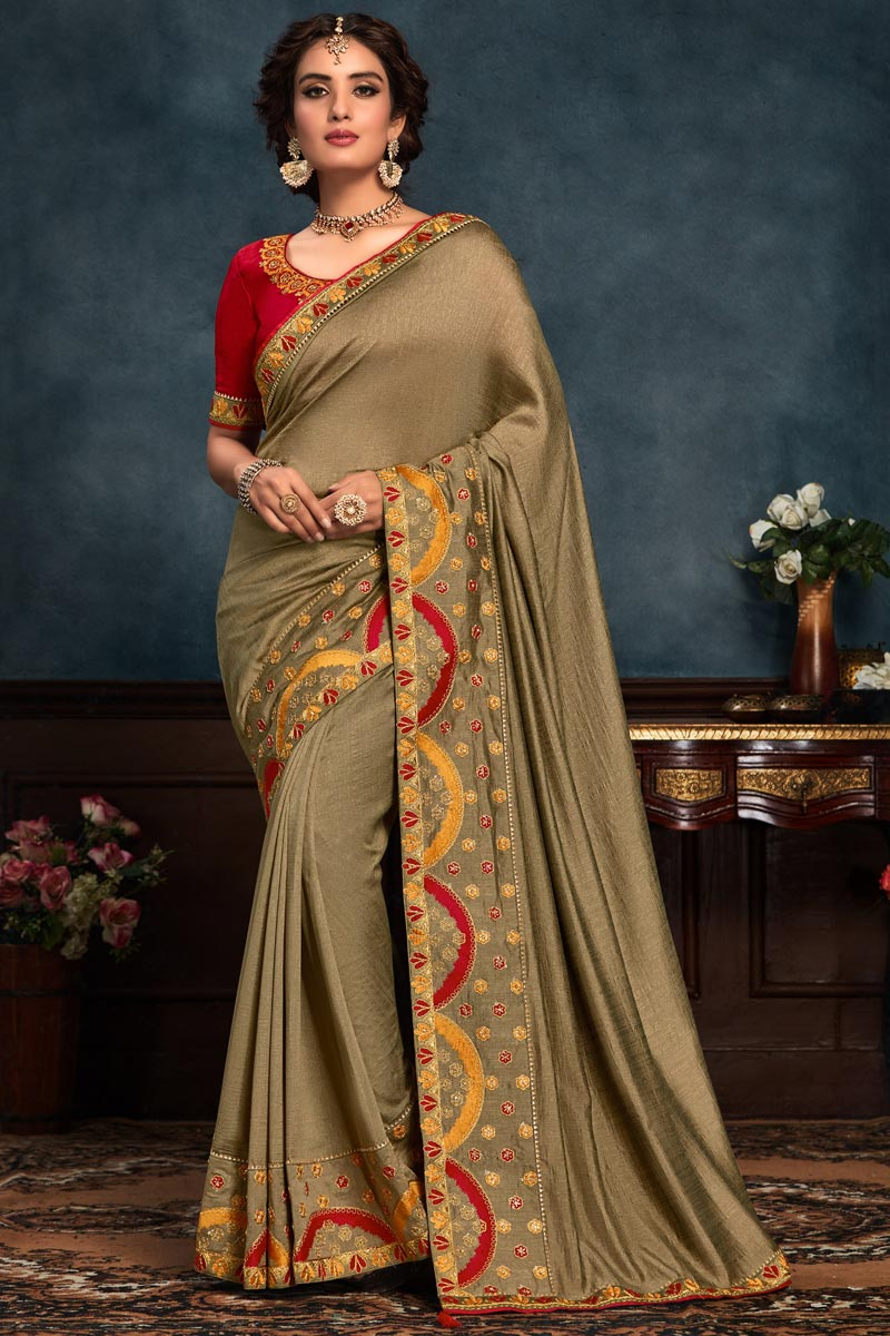 Fancy Dark Beige Color Art Silk Fabric Sangeet Wear Saree