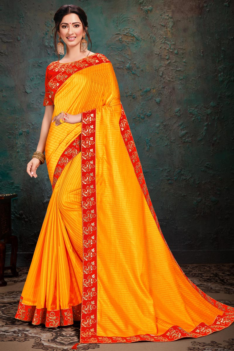 Mustard Color Party Wear Art Silk Fabric Embroidery Work Saree