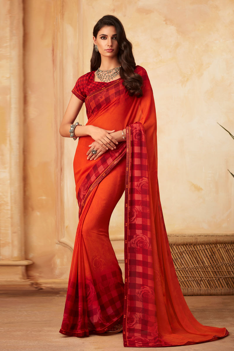 Red Color Simple Fancy Printed Saree In Georgette Fabric