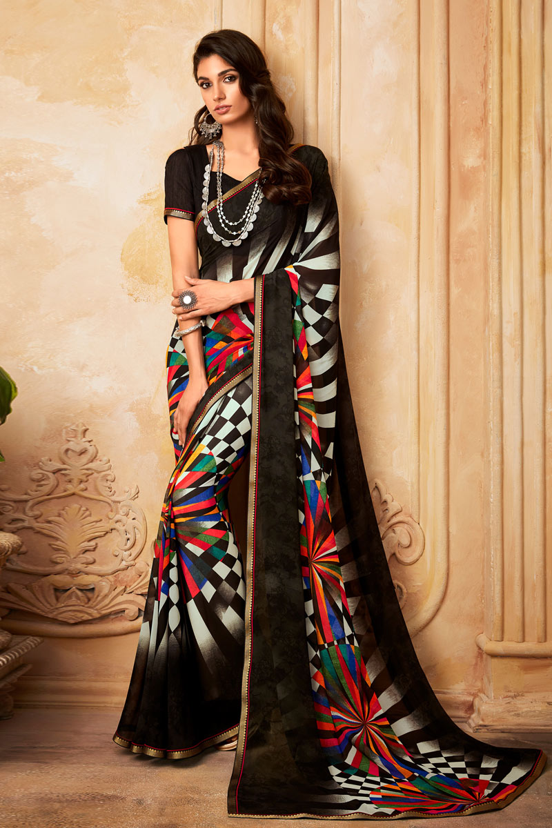 Georgette Fabric Daily Wear Printed Saree In Black Color