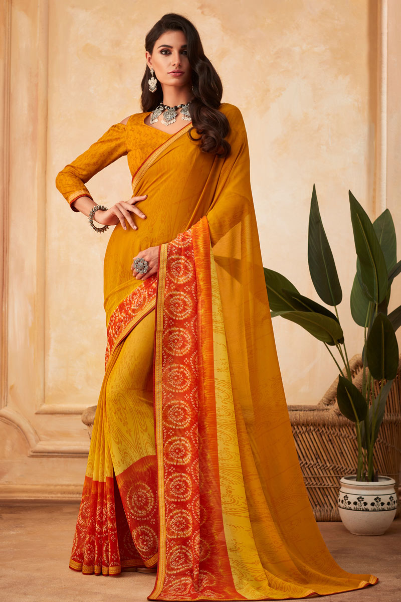 Yellow Color Georgette Fabric Office Wear Printed Saree